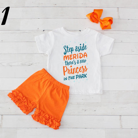 Step Aside Merida- 3 pc Park Princess Graphic Shirt & Short Set