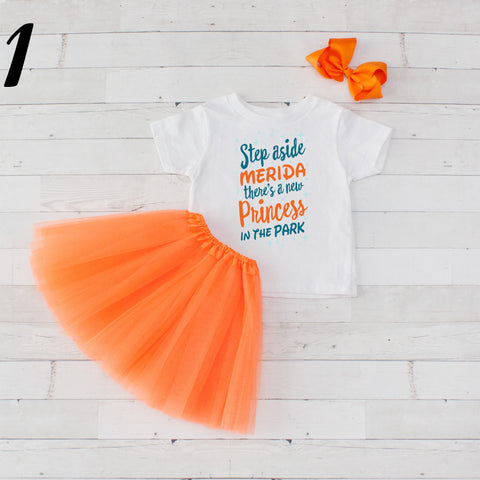 Step Aside Merida - 3 pc Park Princess Graphic Shirt & Tutu Set
