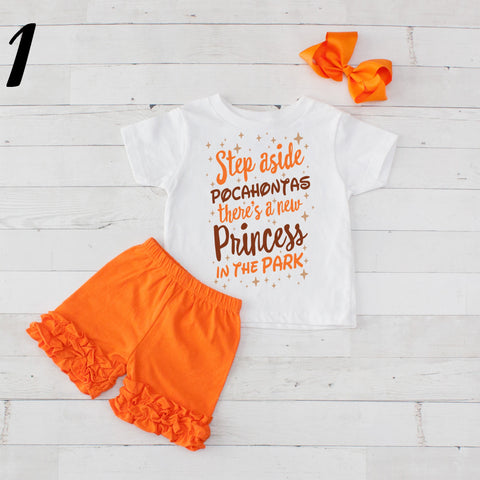 Step Aside Pocahontas- 3 pc Park Princess Graphic Shirt & Short Set