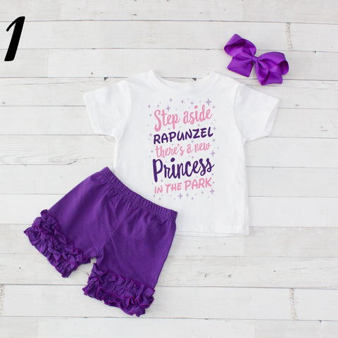 Step Aside Rapunzel- 3 pc Park Princess Graphic Shirt & Short Set