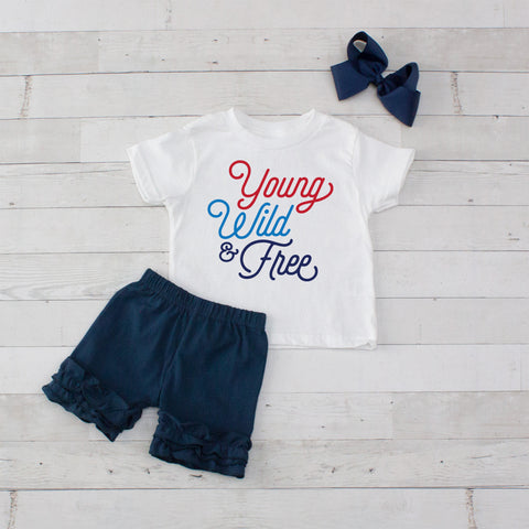 Young Wild & Free - 3pc Shirt and Short Set