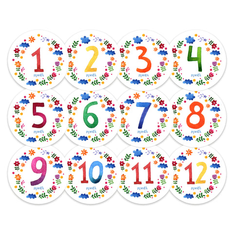 Baby Monthly Stickers - Primary Colors
