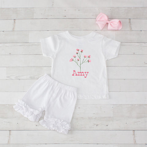 Cherry Blossom - 3pc Personalized Graphic Shirt and Short Set