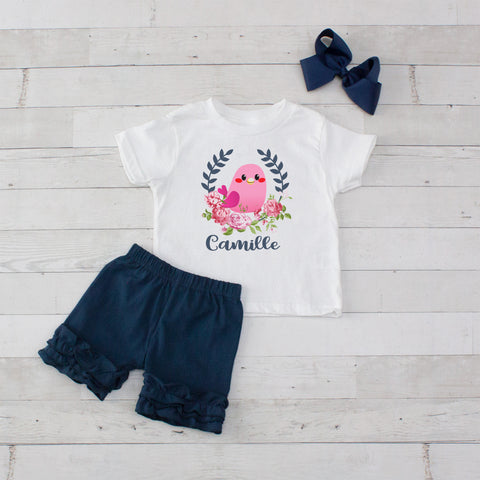Pink Bird - 3pc Personalized Graphic Shirt and Short Set