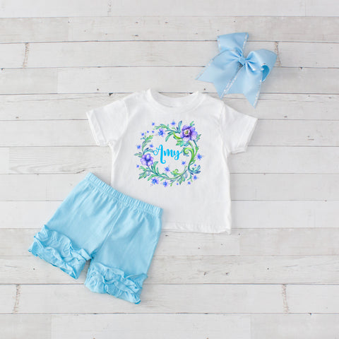 Lavender Flower Wreath - 3pc Personalized Graphic Shirt and Short Set