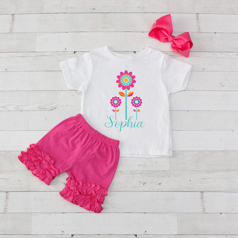 Hot Pink Flower Trio - 3pc Personalized Graphic Shirt and Short Set