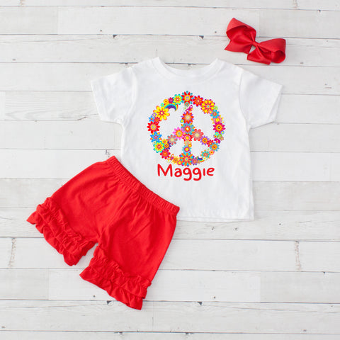 Flower Power Peace - 3pc Personalized Graphic Shirt and Short Set
