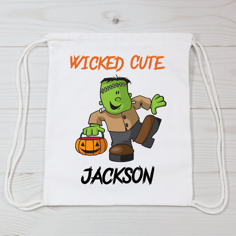 Wicked Cute Halloween Frankenstein Personalized Canvas Bag