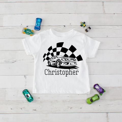 Checkered Flag Racer Personalized Graphic T-Shirt