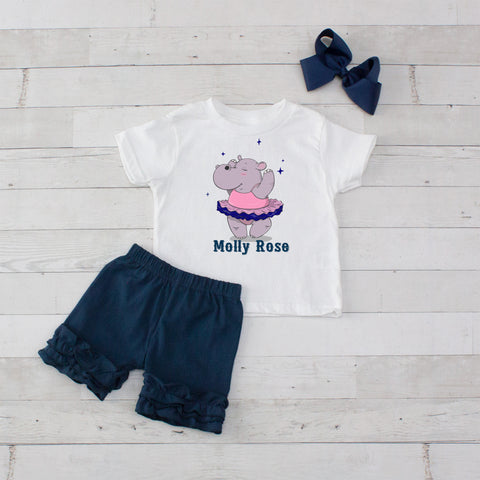 Dancing Hippo - 3pc Shirt and Short Set
