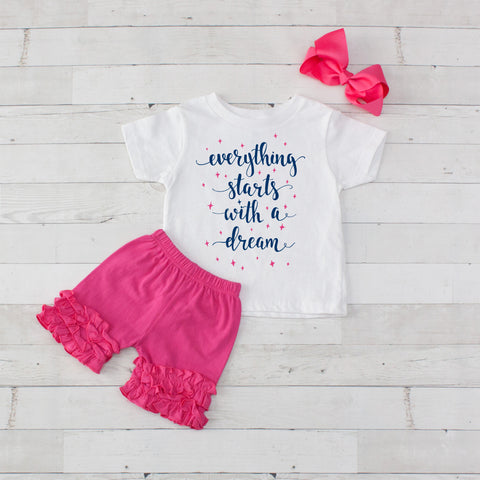 Everything Starts With A Dream - 3pc Shirt and Short Set