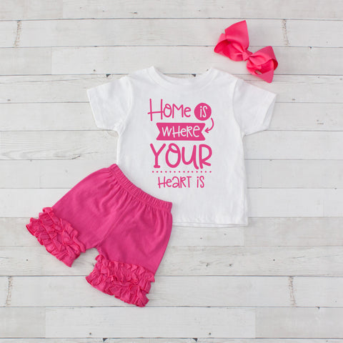 Home Is Where Your Heart Is - 3pc Shirt and Short Set