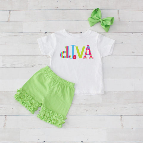 Diva - 3pc Shirt and Short Set