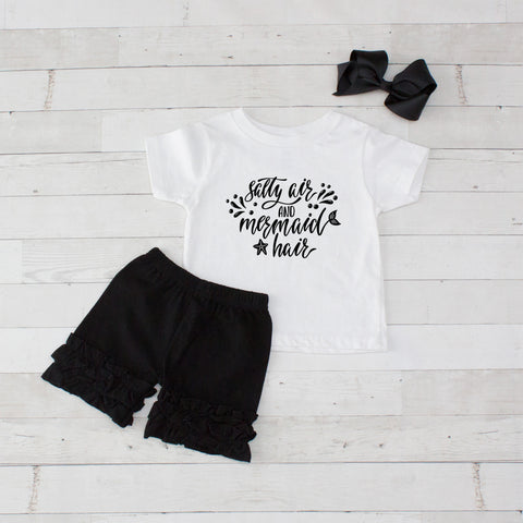 Salty Air and Mermaid Hair - 3pc Shirt and Short Set