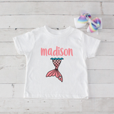 Mermaid Tail- 2 pc Personalized Mermaid Tail Graphic Shirt & Bow Set