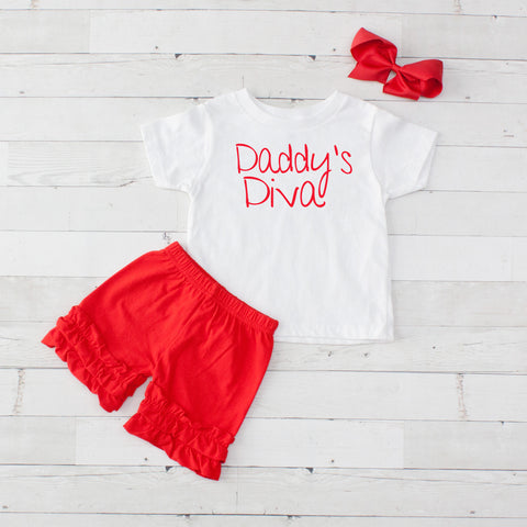 Daddy's Diva Red - 3pc Shirt and Short Set