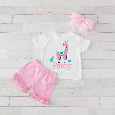 Pink Llama- 3 pc Personalized Pink Llama Graphic Shirt & Short Set