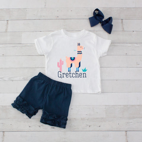 Peach Llama- 3 pc Personalized Peach Llama Graphic Shirt & Short Set