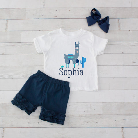Gray Llama- 3 pc Personalized Gray Llama Graphic Shirt & Short Set