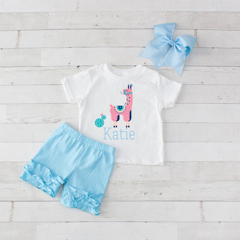 Pink and Light Blue Llama- 3 pc Personalized Pink and Light Blue Llama Graphic Shirt & Short Set