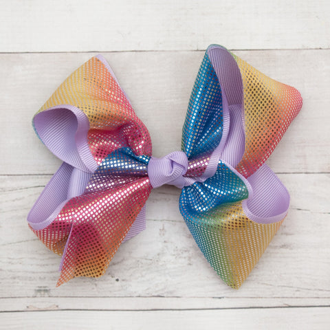 "6"" Pastel Grosgrain & Shiny Satin Rainbow Hair Bow Clip"