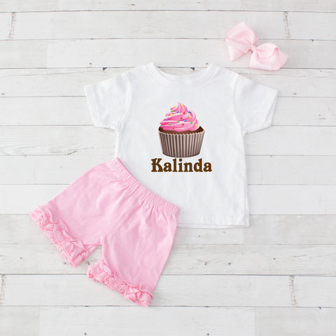 Pink Cupcake - 3pc Personalized Graphic Shirt and Short Set