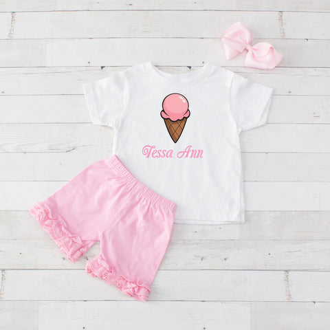 Pink Single Scoop Cone - 3pc Personalized Graphic Shirt and Short Set