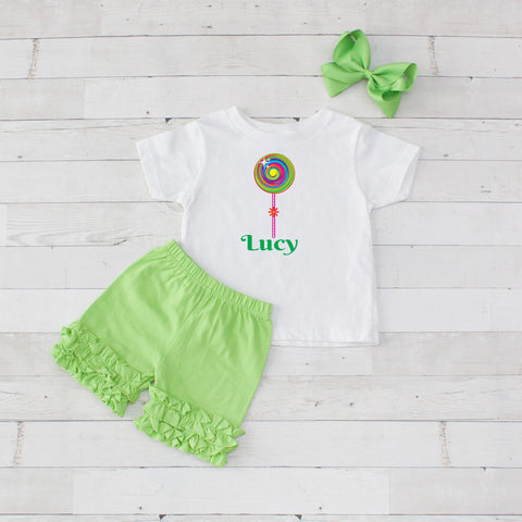 Lime Lollipop - 3pc Personalized Graphic Shirt and Short Set