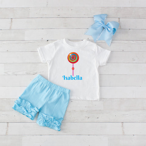 Light Blue Lollipop - 3pc Personalized Graphic Shirt and Short Set