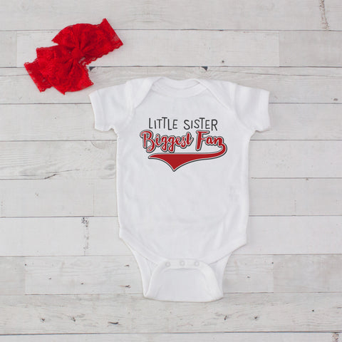 Little Sister Biggest Fan - 2pc Bodysuit and Headband Set