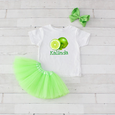 Lime - 3pc Personalized Graphic Shirt and Tutu Set