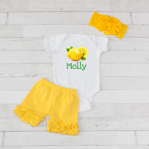 Fresh Lemons Personalized - 3pc Bodysuit and Yellow Short Set