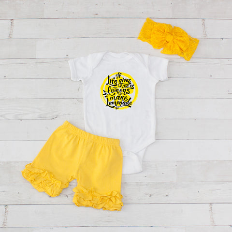 If Life Gives You Lemons Make Lemonade - 3pc Bodysuit and Yellow Short Set
