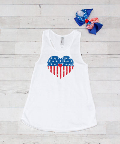 Distressed Flag Heart - Graphic Tank & Bow Set