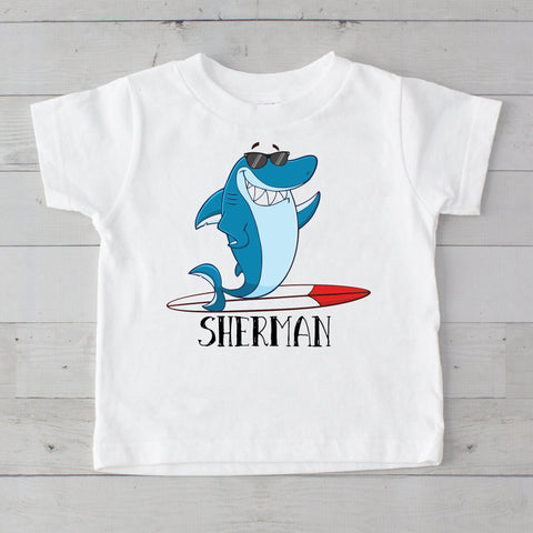 Cool Surfing Shark Personalized Graphic T-Shirt