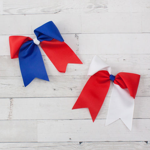"6"" Grosgrain Red, White & Blue Long Tail Hair Bow Clip"