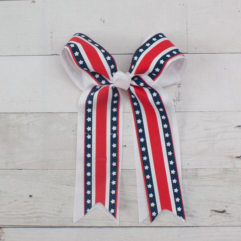 "6"" Grosgrain Patriotic Tail Double Bow Hair Clip"