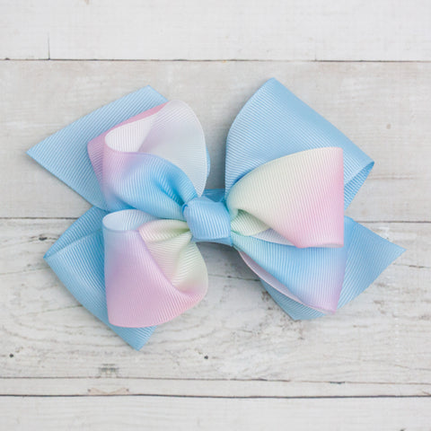 "6"" Grosgrain Pastel Double Bow Hair Clip"