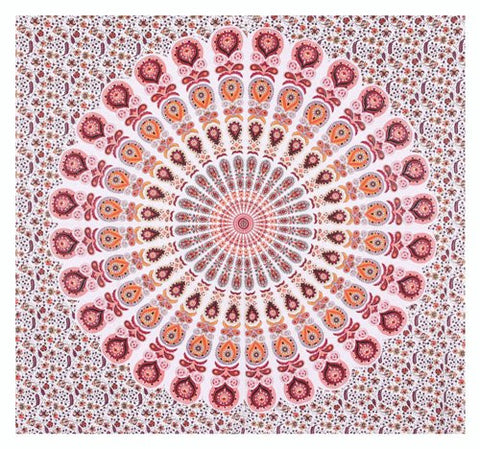 "90"" Square Indian Mandala Beach Throw - Shades of Rose, Peach, Orange & White Circle Pattern"