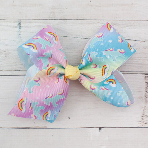 "6"" Grosgrain Unicorn Print Pastel Hair Bow Clip"