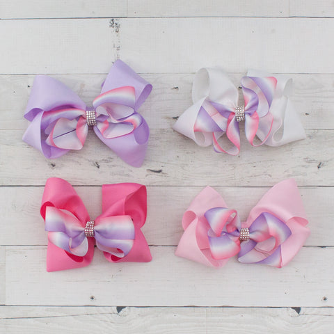 "6"" Grosgrain Double Bow Pastel & Rhinestone Hair Bow Clip"