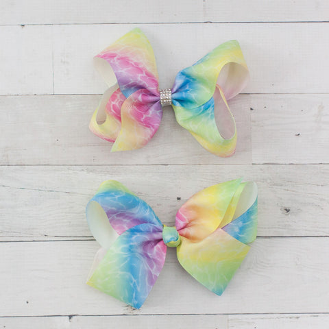 "6"" Grosgrain Pastel Rainbow Hair Bow Clip"