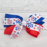 "6"" Red, White & Blue Paw Print Grosgrain Hair Bow Clip"