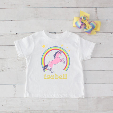 Rainbow Unicorn Personalized Graphic T-Shirt