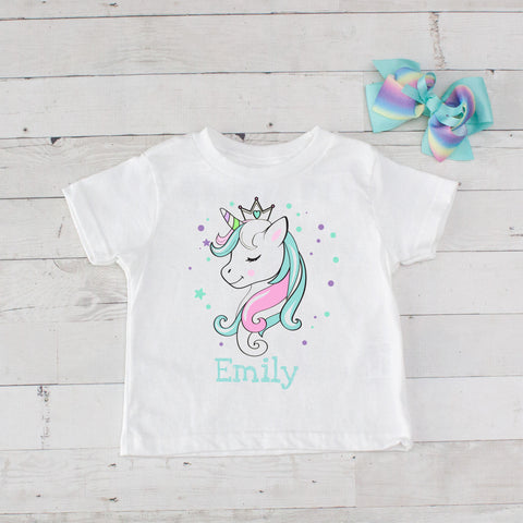 Turquoise Princess Unicorn Personalized Graphic T-Shirt