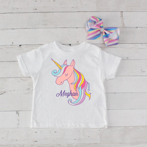 Rainbow Mane Unicorn Personalized Graphic T-Shirt