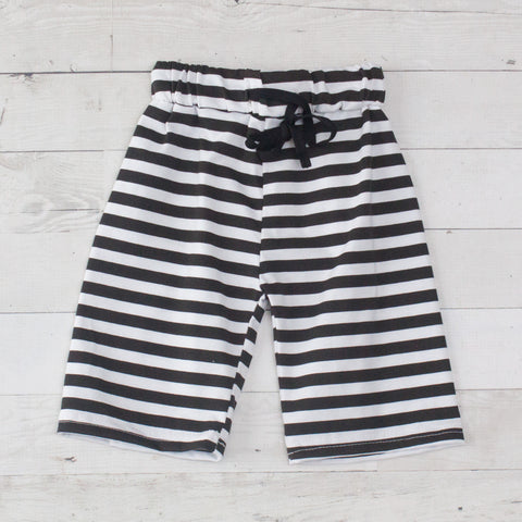 Boys Black & White Stripe Drawstring Elastic Waist Shorts