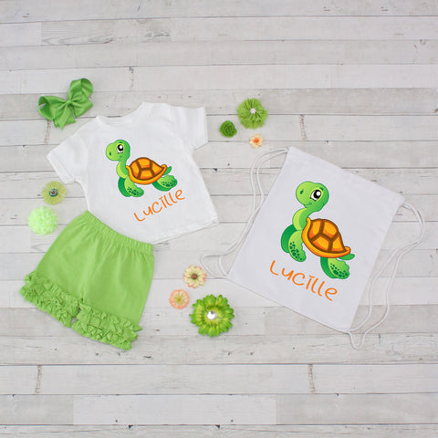 Tiny Turtle - 4pc Personalized Shirt, Short and Bag Set