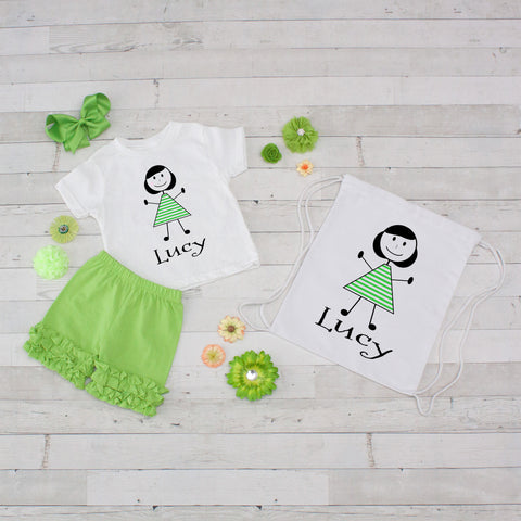 Little Girl Lime Striped Dress - 4pc Personalized Shirt, Short and Bag Set
