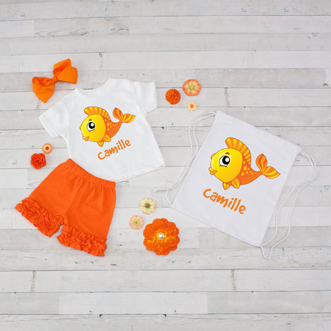 Goldfish - 4pc Personalized Shirt, Short and Bag Set